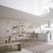 "Photography of the ""FloatingSpaces"" system by SieMatic. architecture, ceiling, floor, interior design, interior designer, kitchen, living room, product design, gray"