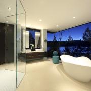 View of bathroom with cream flooring, contemporary white apartment, architecture, house, interior design, real estate, room, orange