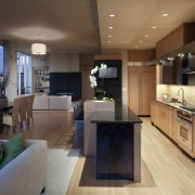 View of contemporary kitchen with wooden features and countertop, interior design, kitchen, brown