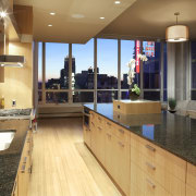 View of contemporary kitchen with wooden features and countertop, interior design, kitchen, real estate, brown, orange