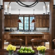 View of traditional kitchen with wooden cabinetry and cabinetry, countertop, cuisine classique, interior design, kitchen, brown