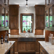 View of traditional kitchen with wooden cabinetry and cabinetry, ceiling, countertop, cuisine classique, estate, home, interior design, kitchen, room, window, brown, gray