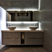 This home was designed by Gerrad Hall, the architecture, bathroom, countertop, interior design, product design, room, sink, black