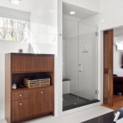 View of bathroom with white walls, floor and bathroom, floor, interior design, room, sink, white