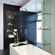 View of contemporary bathroom with white square tub bathroom, countertop, glass, interior design, product design, sink, gray