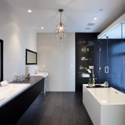 View of contemporary bathroom with dark flooring and architecture, bathroom, ceiling, countertop, home, interior design, room, gray