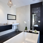 View of contemporary bathroom with white tub and architecture, bathroom, countertop, home, interior design, product design, room, sink, tap, gray, white