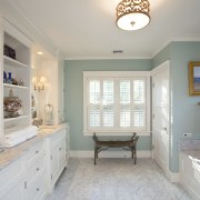 View of bathroom with light teal wall, white bathroom, ceiling, estate, floor, home, house, interior design, property, real estate, room, window, gray