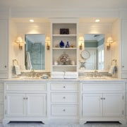 View of white cabinetry and shelving, with two bathroom, bathroom accessory, bathroom cabinet, cabinetry, chest of drawers, countertop, cuisine classique, cupboard, furniture, home, interior design, room, wall, wood stain, gray