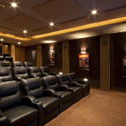 View of theatre room with dark seats. - interior design, lobby, theatre, red, brown