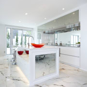 View of light toned kitchen with marble floor floor, home, interior design, kitchen, real estate, white