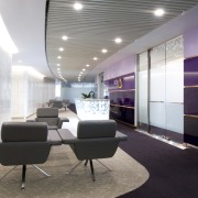View of seating area with purple accents and architecture, ceiling, furniture, interior design, lobby, office, product design, white, gray