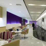View of seating area with purple walls and architecture, ceiling, interior design, gray