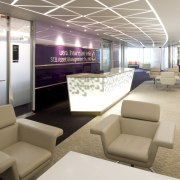 View of front desk with purple wall and interior design, lobby, office, white