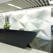 View of front desk with white and grey architecture, daylighting, glass, interior design, office, product design, white