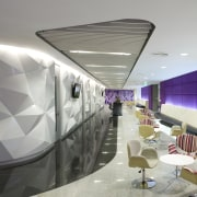 View of seating area with purple accents and architecture, ceiling, interior design, product design, gray