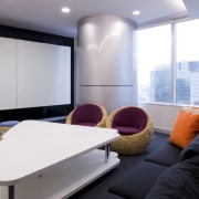 View of seating area with contemporary white table, interior design, room, table, gray