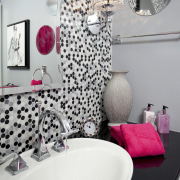 View of contemporary bahtroom with mosaic splashback and bathroom, design, interior design, pattern, pink, plumbing fixture, purple, room, textile, wall, gray