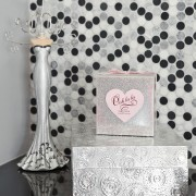 View of contemporary bahtroom with mosaic splashback and design, pattern, pink, polka dot, product, textile, white, gray