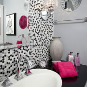 View of contemporary bahtroom with mosaic splashback and bathroom, interior design, pink, plumbing fixture, purple, room, textile, wall, gray