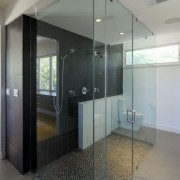 View of large glass walled shower. - View architecture, door, glass, interior design, property, real estate, gray