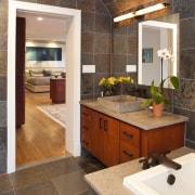 View of bathroom with grey floor and wall bathroom, cabinetry, countertop, cuisine classique, floor, flooring, hardwood, interior design, kitchen, room, tile, wood flooring, brown