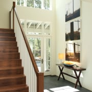 Wooden stairs with grey tile flooring and small architecture, daylighting, door, floor, flooring, handrail, hardwood, home, house, interior design, stairs, window, wood, wood flooring, yellow, white