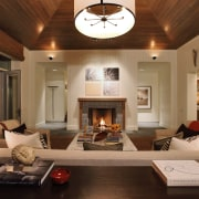 Lounge with wooden ceiling, couches with cushions and ceiling, home, interior design, living room, real estate, room, brown