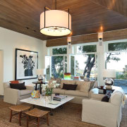 Lounge with wooden ceiling, cream sofas and circular ceiling, dining room, home, house, interior design, living room, table, brown