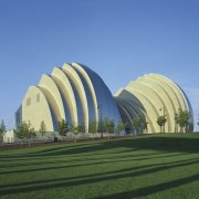 The Kauffman Center for the Performing Arts in arch, architecture, biome, daytime, grass, landmark, sky, teal, green