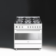 Freestanding cookers from Smeg highlight a significant design gas stove, home appliance, kitchen appliance, kitchen stove, major appliance, product, product design, black, white