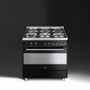 Freestanding cookers in the Smeg vintage range include electronic instrument, gas stove, home appliance, kitchen appliance, kitchen stove, major appliance, product, product design, black