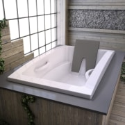 View of contemporary tub. - View of contemporary angle, bathroom sink, bathtub, plumbing fixture, product design, sink, gray, white