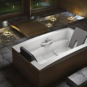 View of contemporary tub. - View of contemporary angle, bathtub, floor, jacuzzi, plumbing fixture, product design, sink, black