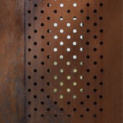 Exterior of house with rusted corten steel. Sustainable brown, design, pattern, texture, wood, wood stain, brown, red