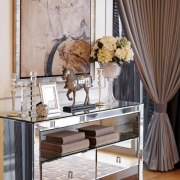 Mirror-clad console in glamorous Hollywood-style suite designed by curtain, floor, flooring, furniture, home, interior design, living room, room, table, window, window covering, wood, gray, brown