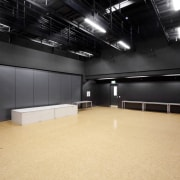 View of room with black walls and ceiling auditorium, ceiling, floor, flooring, interior design, black, orange