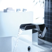 View of water flowing from faucet. - View plumbing fixture, product, product design, tap, water, white