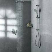 View of contemporary grey shower. - View of angle, bathroom, floor, plumbing fixture, shower, tap, tile, wall, gray
