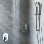 View of contemporary grey shower. - View of bathroom, plumbing fixture, shower, tap, wall, gray