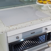 smeg oven open integrated into marble benchtop - countertop, furniture, home appliance, kitchen, kitchen stove, major appliance, sink, table, gray