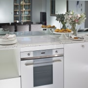 this is another smeg oven - this is cabinetry, countertop, cuisine classique, home appliance, interior design, kitchen, kitchen appliance, kitchen stove, major appliance, refrigerator, room, gray