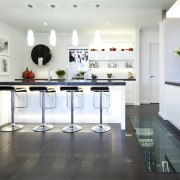 wide shot fo kitchen, white, contemporary, bar stools countertop, floor, interior design, kitchen, product design, table, white