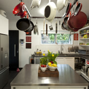 refrigerator, pots hanging over central island - refrigerator, countertop, interior design, kitchen, room, gray