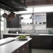 oak cabinets, white quartz benchtops, shelves along windows, countertop, cuisine classique, interior design, kitchen, black, white