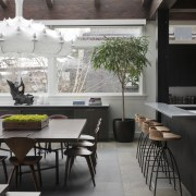 island with bar incorporated, open plan leads to architecture, chair, furniture, interior design, table, gray, black