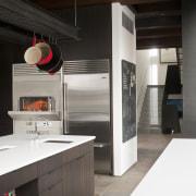 stainless steel appliances, sink in central island, pot countertop, home appliance, interior design, kitchen, black, white