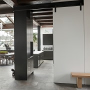 view from hallway looking into kitchen - view architecture, floor, furniture, interior design, gray, black