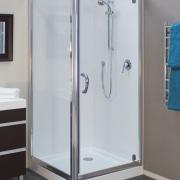 Shower enclosure with grey flooring. - Shower enclosure plumbing fixture, shower, gray