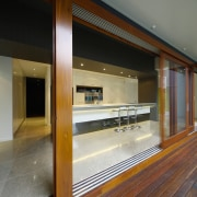 The island in this new kitchen is enclosed architecture, door, glass, interior design, window, brown, gray